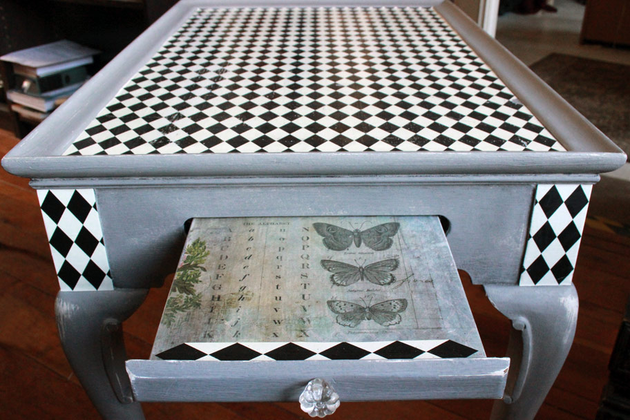 Mad Hatter Tea Table Decoupage Process V