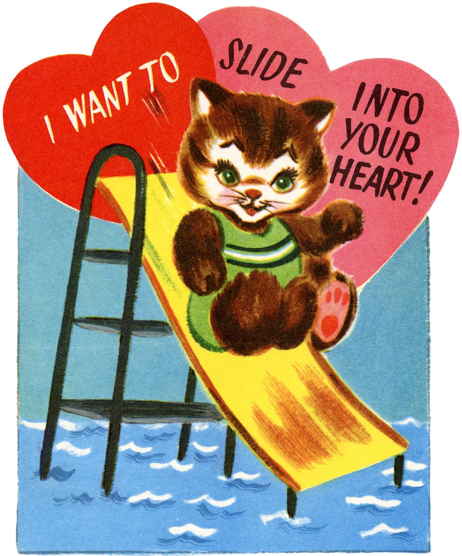 Retro Cat Valentine Image