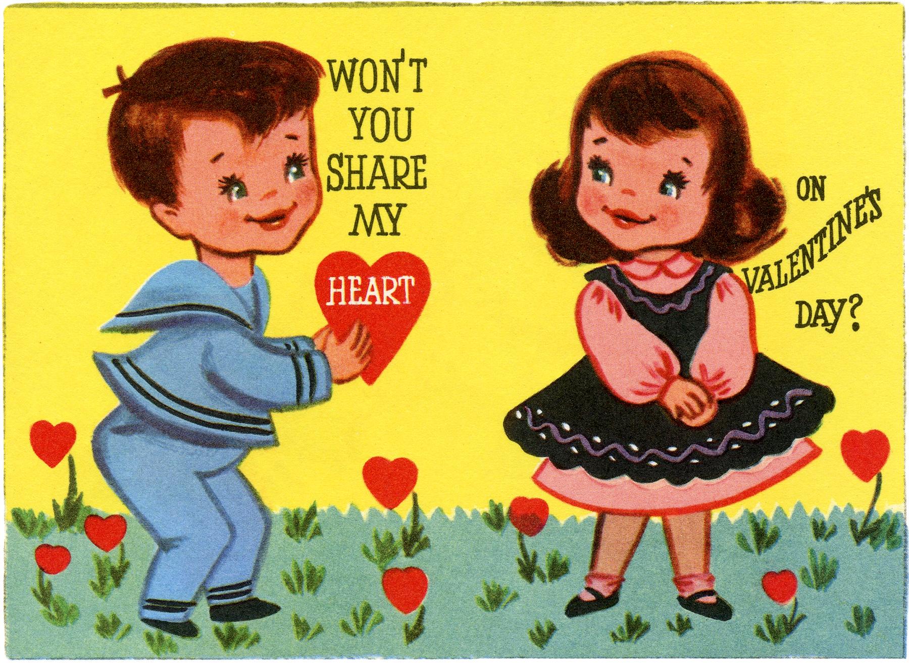Retro Valentine Kids Image