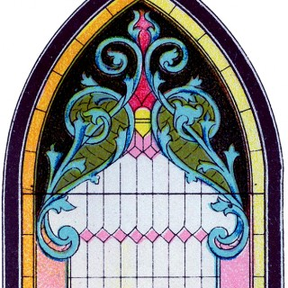 Vintage Stained Glass Gothic Window Image!