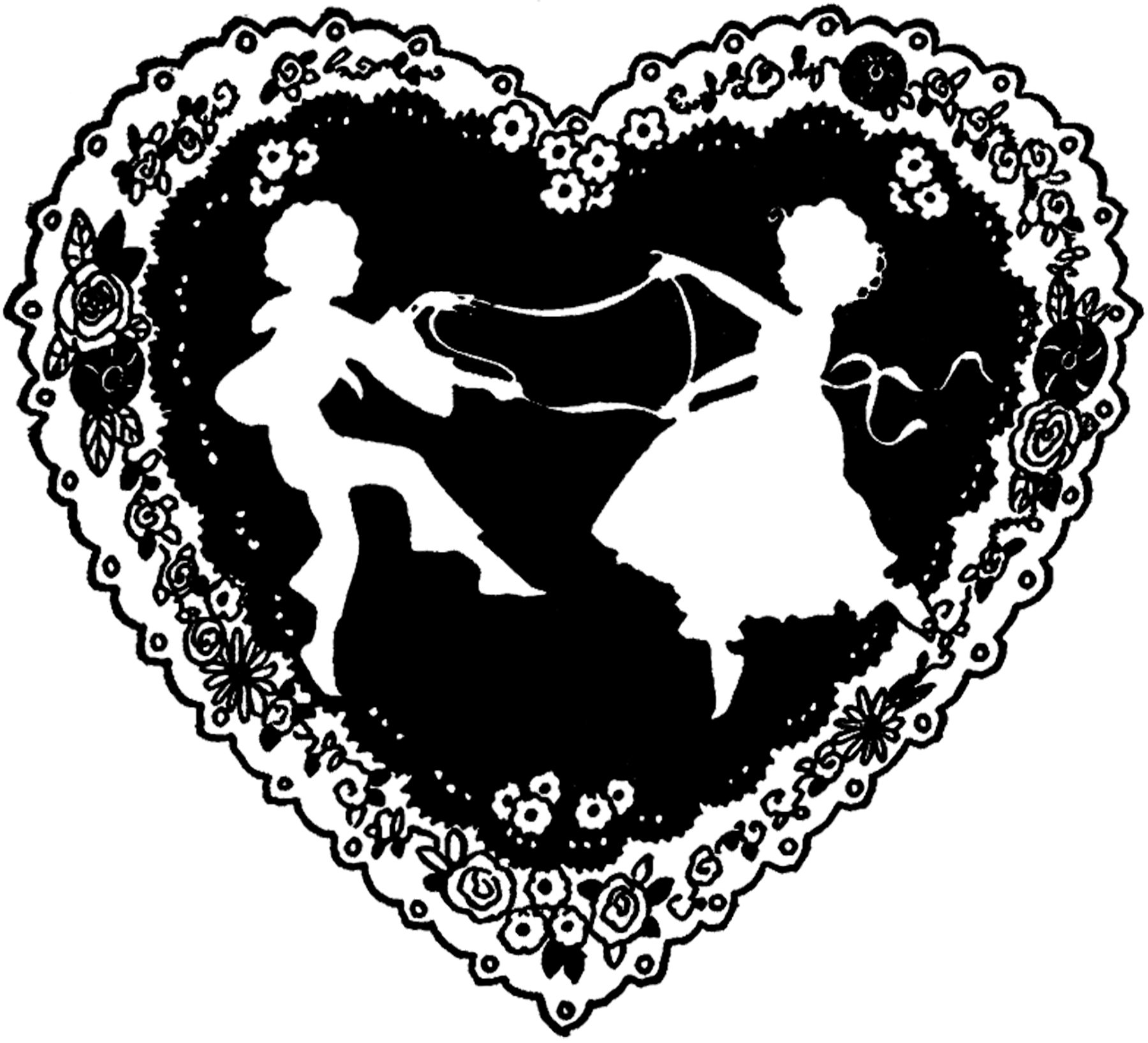Vintage Valentine Silhouette Freebie! - The Graphics Fairy