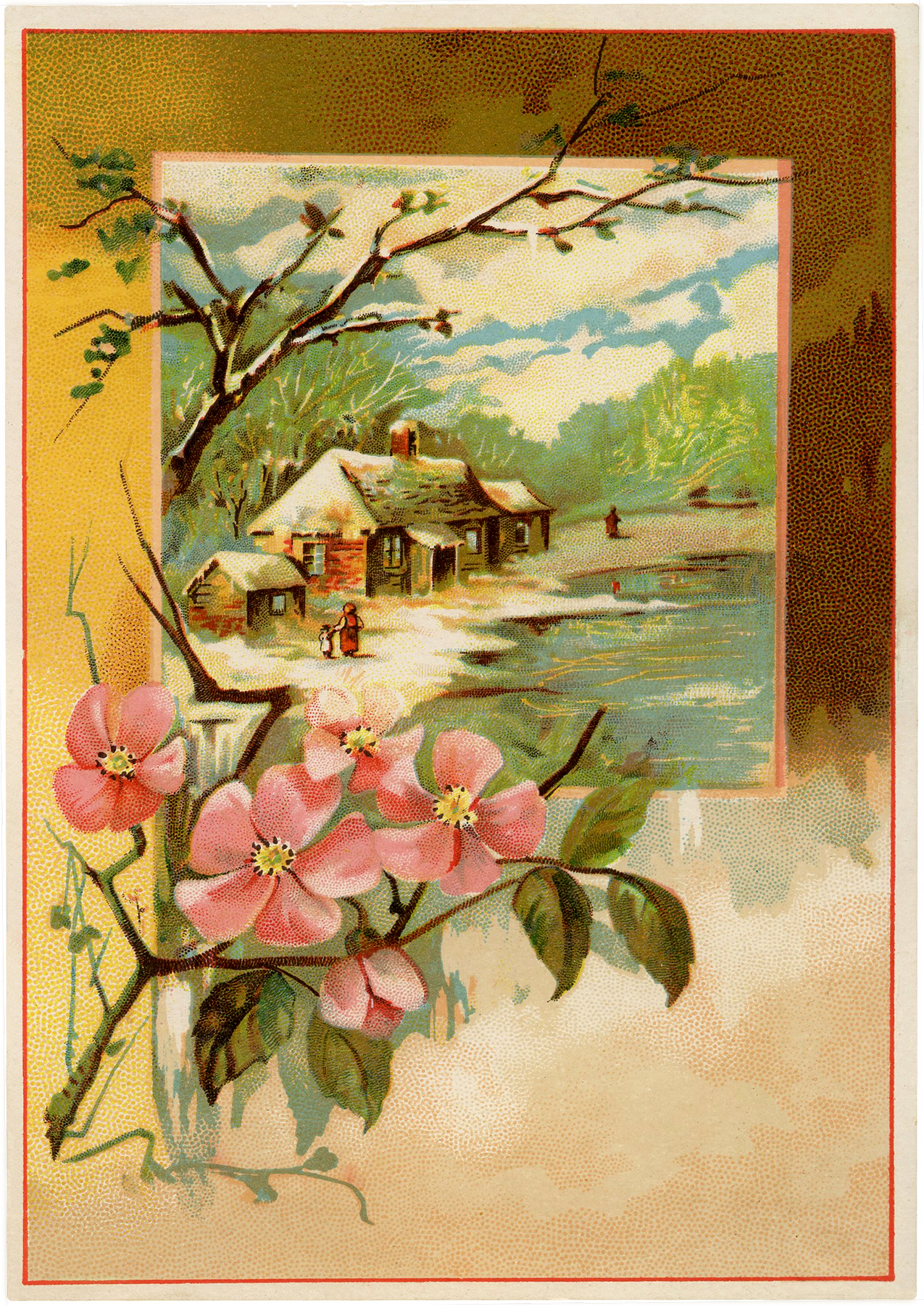 Vintage Winter Cabin Image