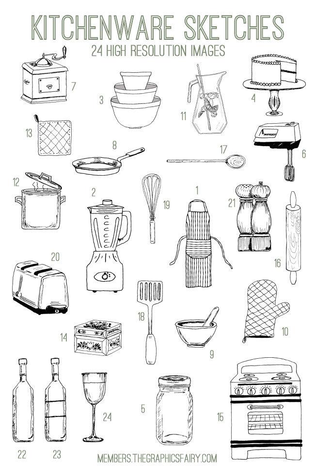 kitchen_sketches_image_list_graphicsfairy