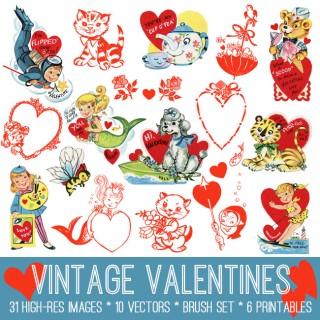 Vintage Valentines Image Kit