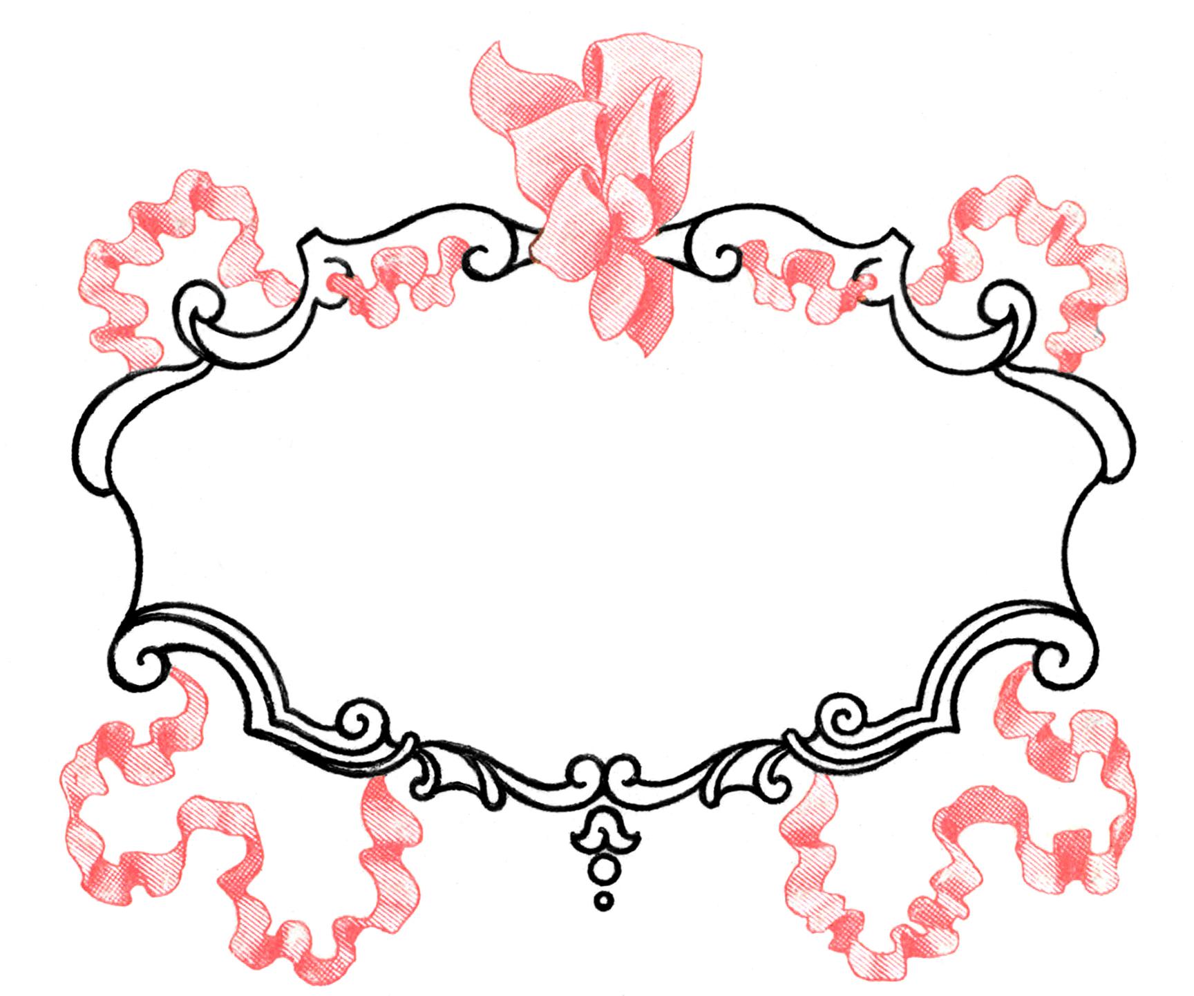 Vintage Pink Ribbon Frame Image - Super Pretty!