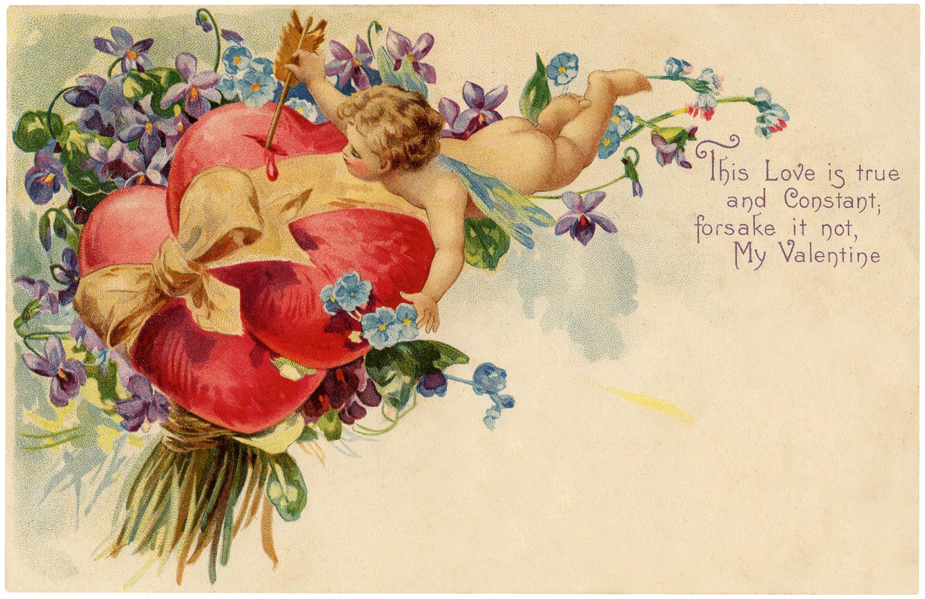 Cherubs Violets Vintage Valentine