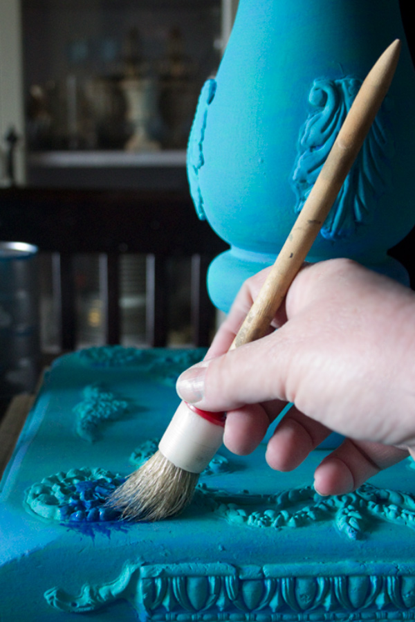 Jewel Tones Painted Furniture Finish-Sapphire-Application
