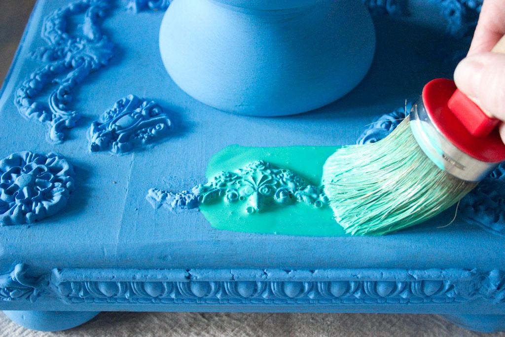 Jewel Tones Painted Furniture Finish-Tanya-Wash-Application