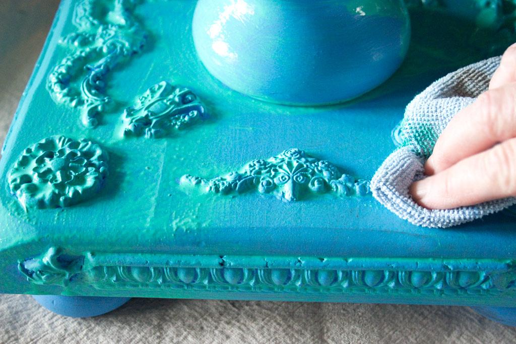 Jewel Tones Painted Furniture FinishTanya-Wash-Wiping-Back