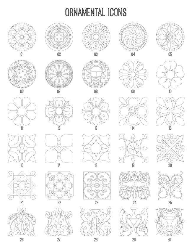 Ornamental Icons 1-30 TheGraphicsFairy