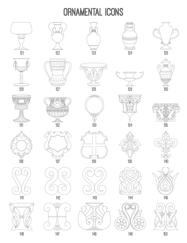 Ornamental Icons 121-150 TheGraphicsFairy