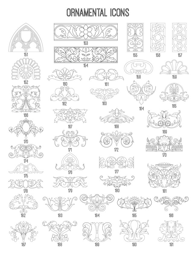 Ornamental Icons 151-191 TheGraphicsFairy