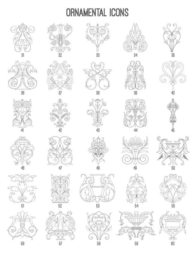 Ornamental Icons 31-60 TheGraphicsFairy