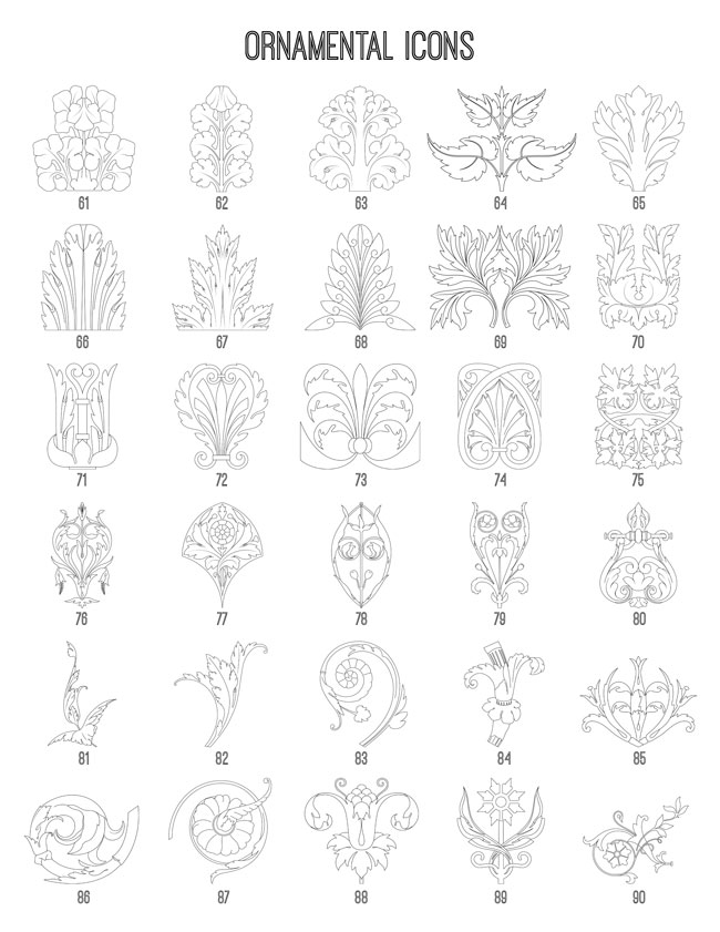 Ornamental Icons 61-90 TheGraphicsFairy