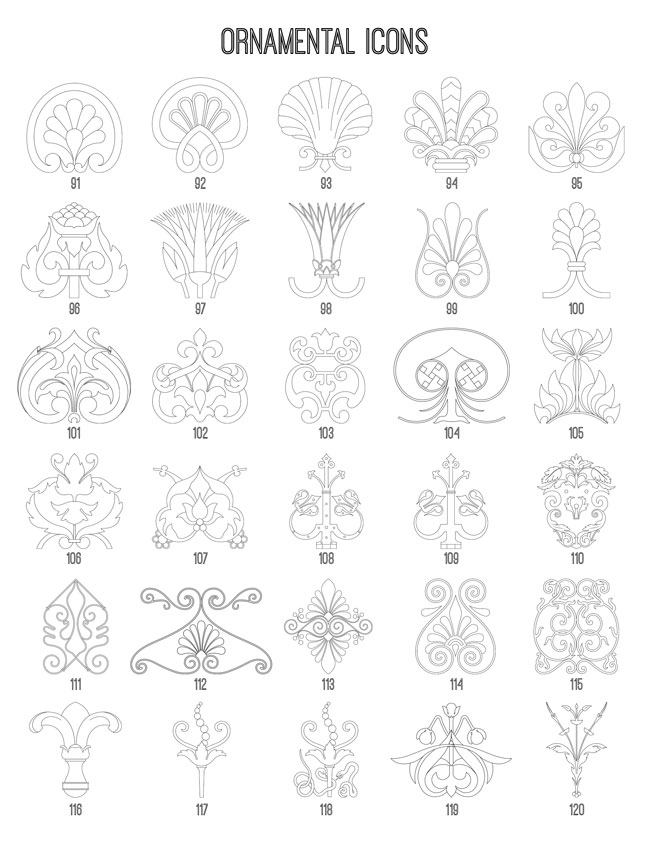 Ornamental Icons 91-120 TheGraphicsFairy
