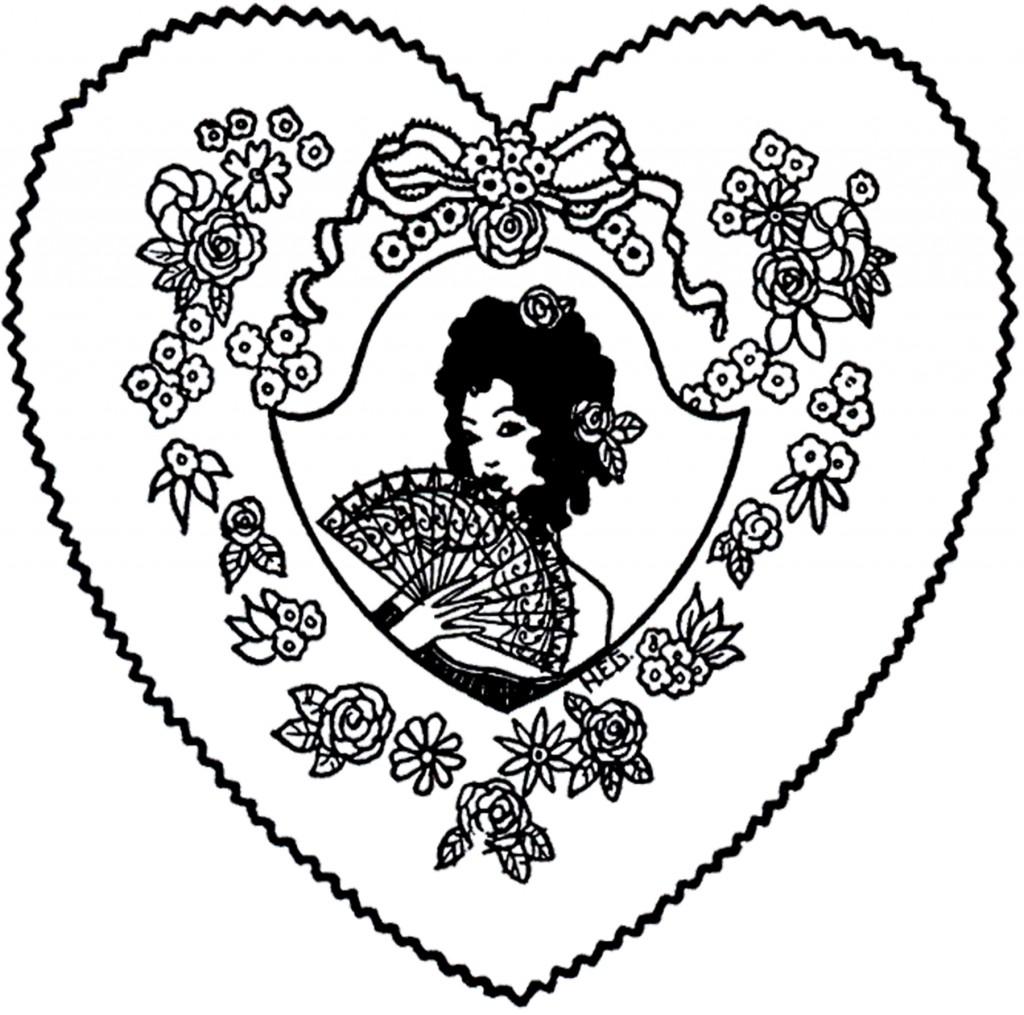Vintage Fan Lady Valentine Image