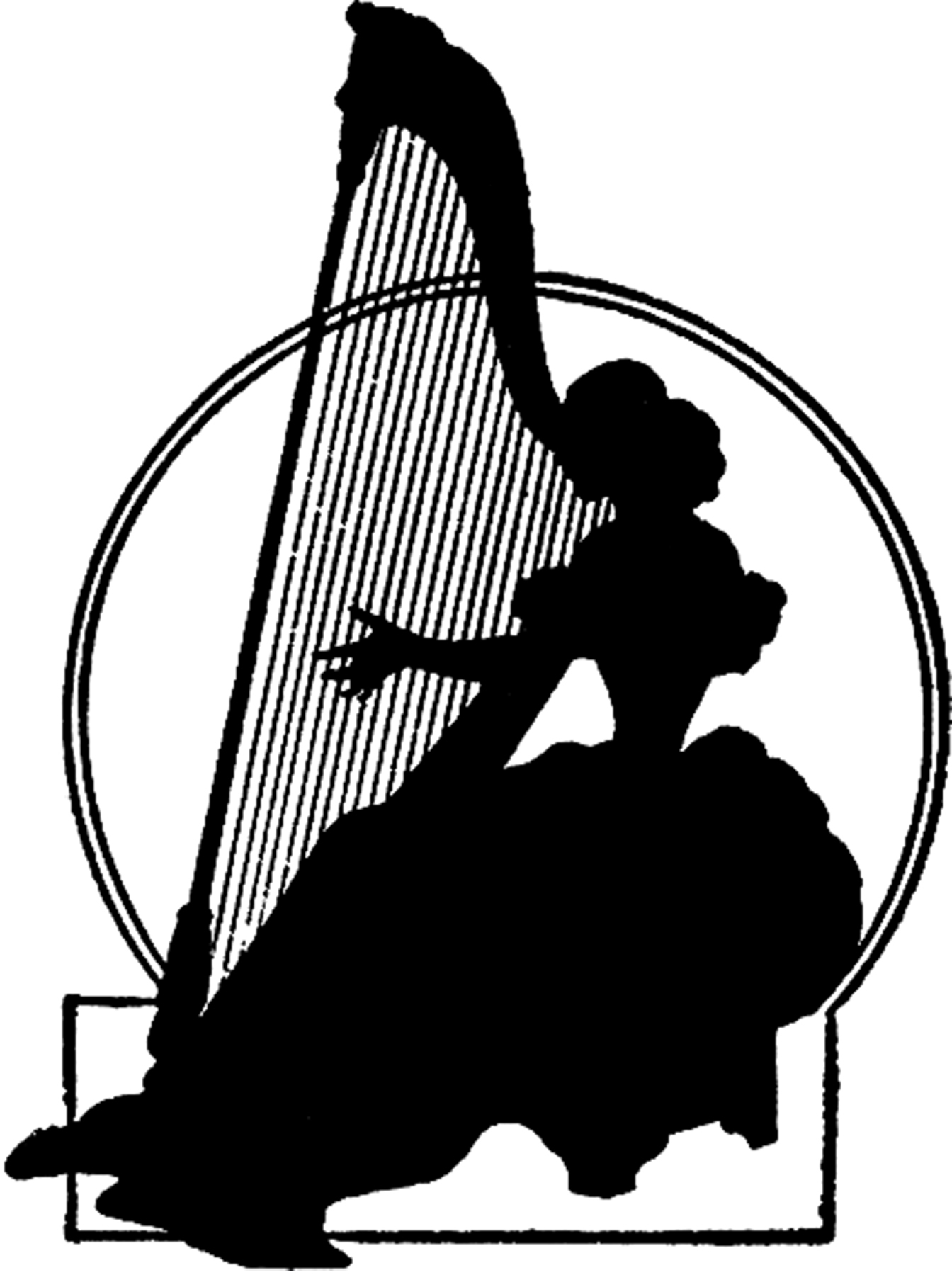 Vintage Harp Lady Silhouette