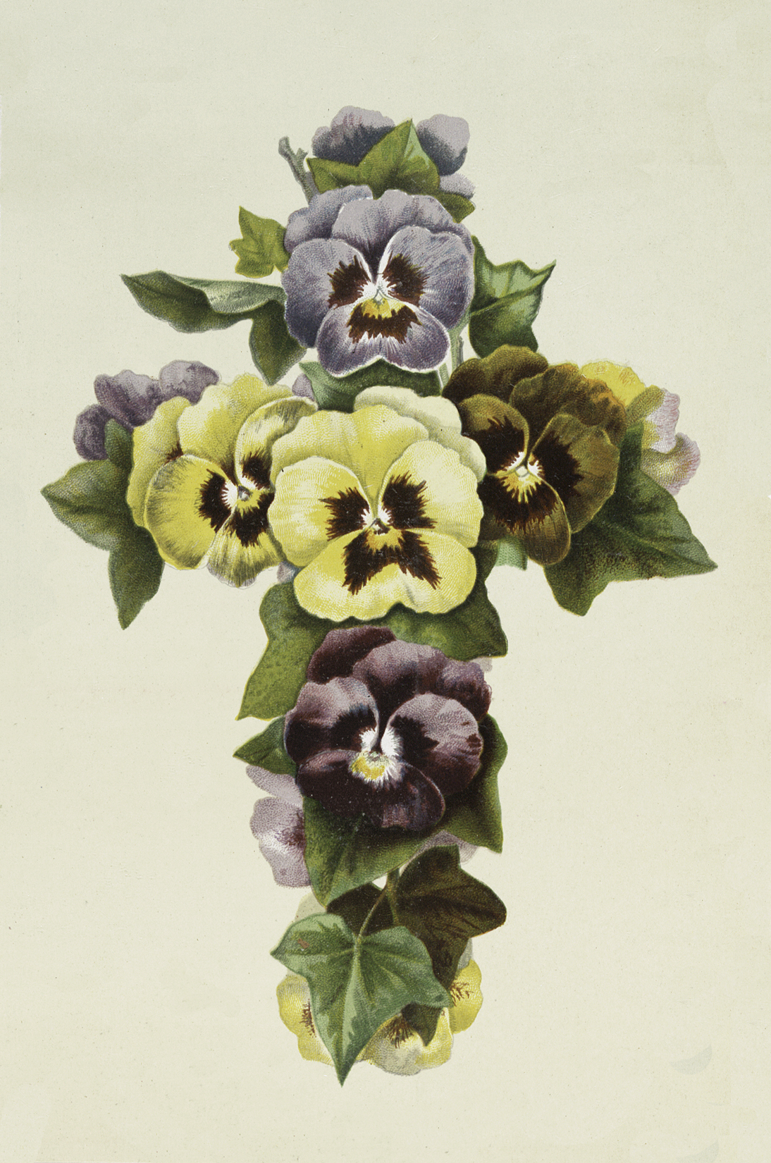 Easter Pansy Cross Image