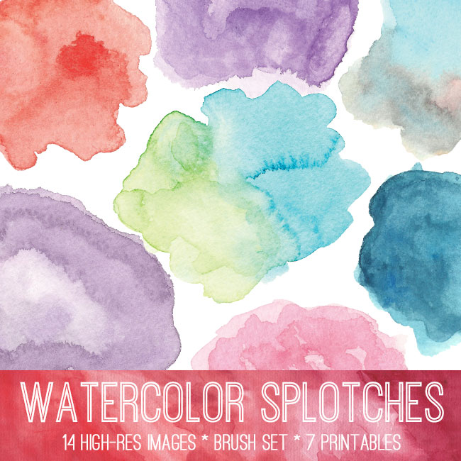 Watercolor Splotches Image Kit