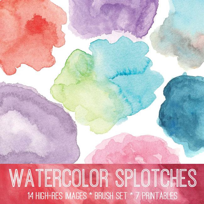 Watercolor Splotches Image Kit