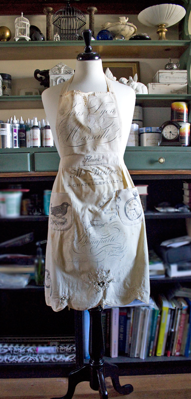 20 Image-Transfers-on-Fabric-with-Ink-Jet-Transparencies-Thicketworks-for-The-Grahics-Fairy-Completed-Grunge-Apron