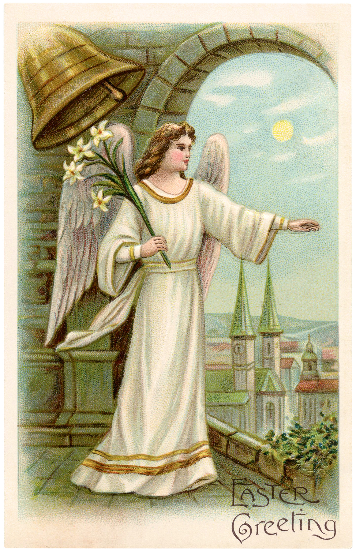 Antique Easter Angel Image The Graphics Fairy