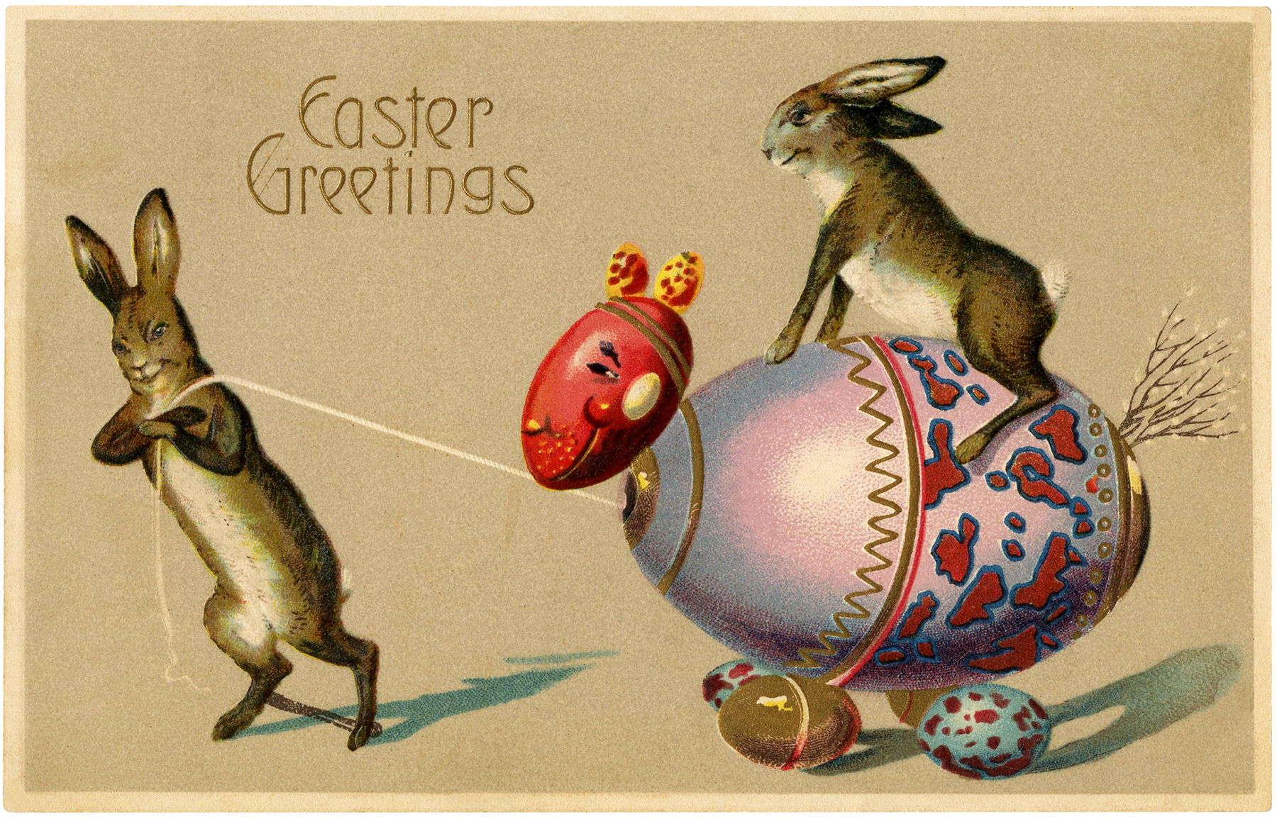 Easter Bunnies Riding Eggs Image