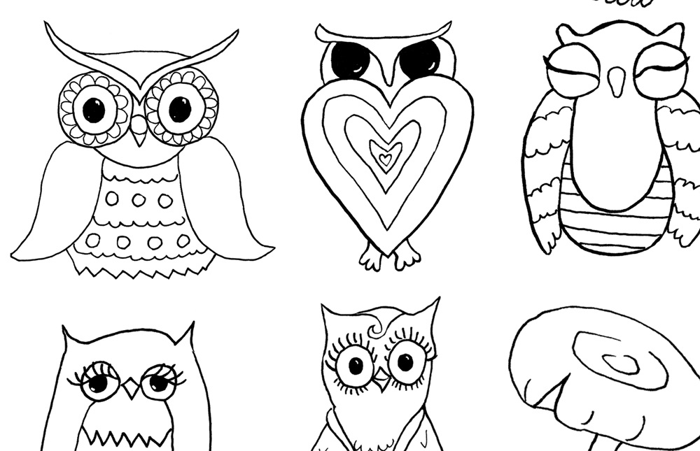 Free Owls and Mushrooms Coloring Page The Graphics Fairy