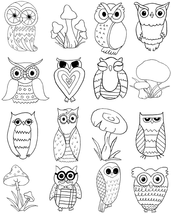 Free Owls and Mushrooms Coloring Page