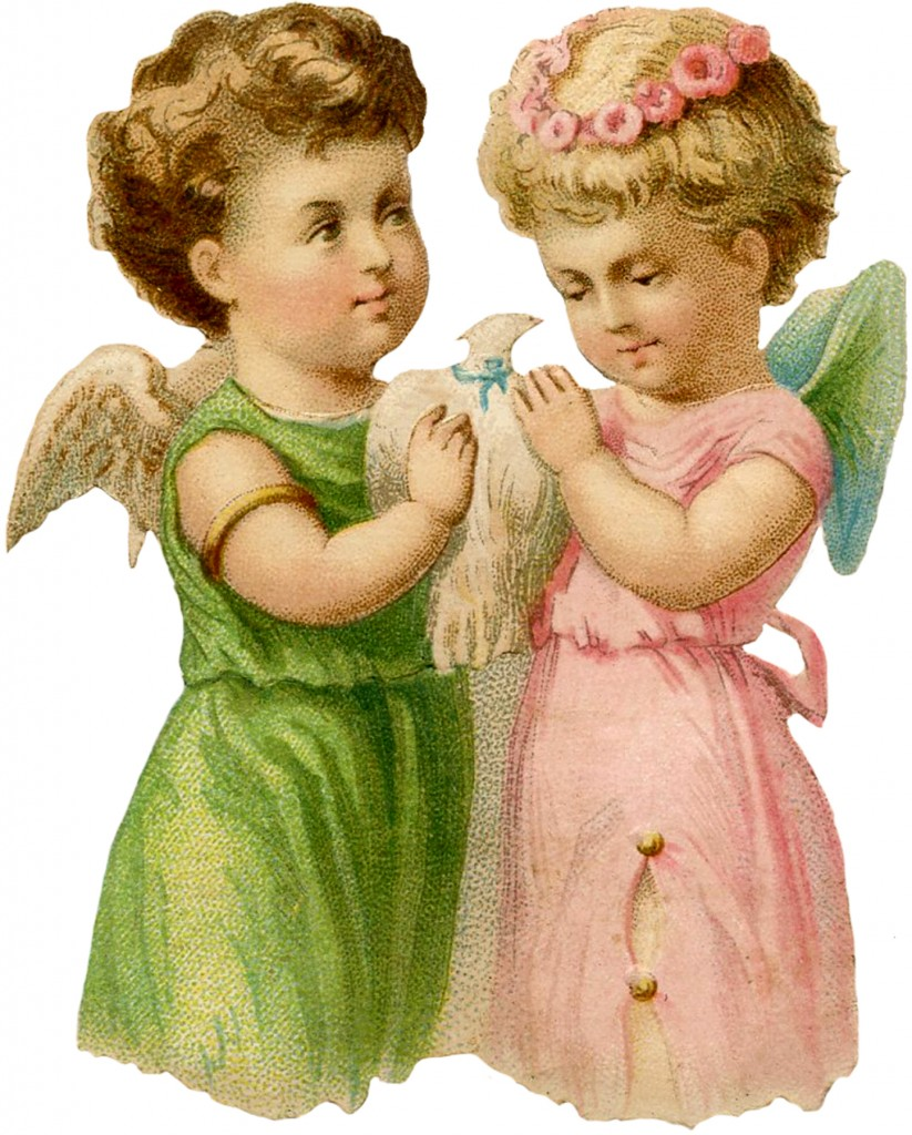 Vintage Angel Fairy Dove Image