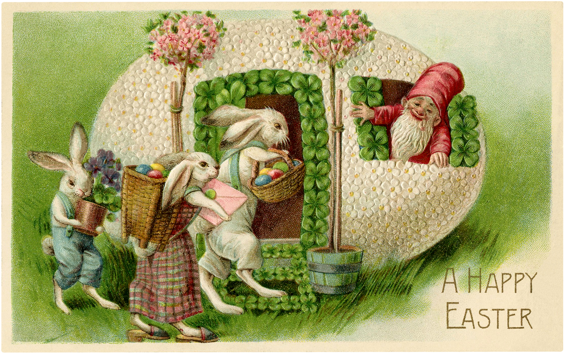 vintage easter bunnies and gnome image the graphics fairy