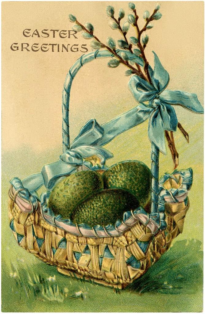 Vintage Easter Egg Basket Image