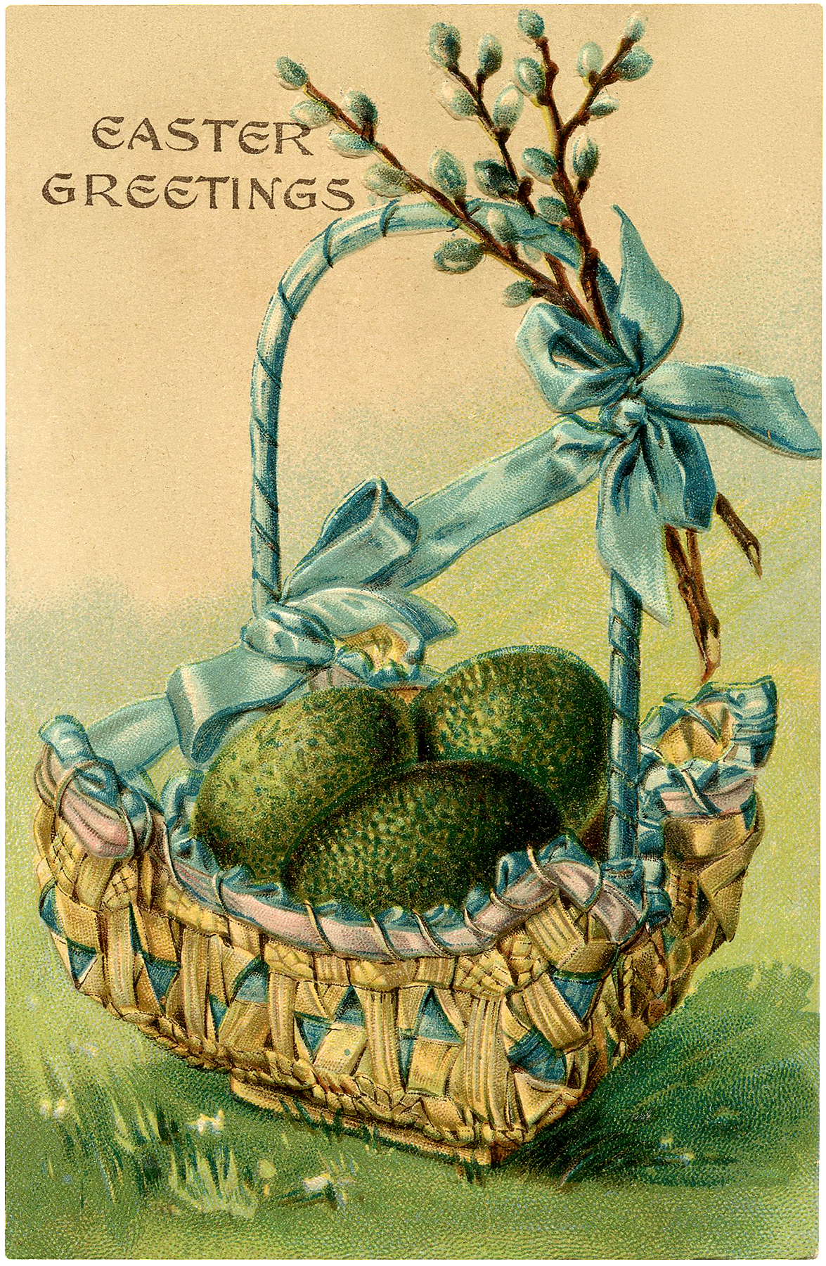 pretty vintage easter egg basket image   the graphics fairy