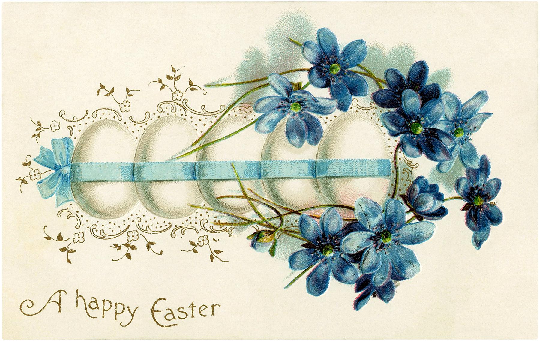 Vintage Pretty Easter Eggs Image