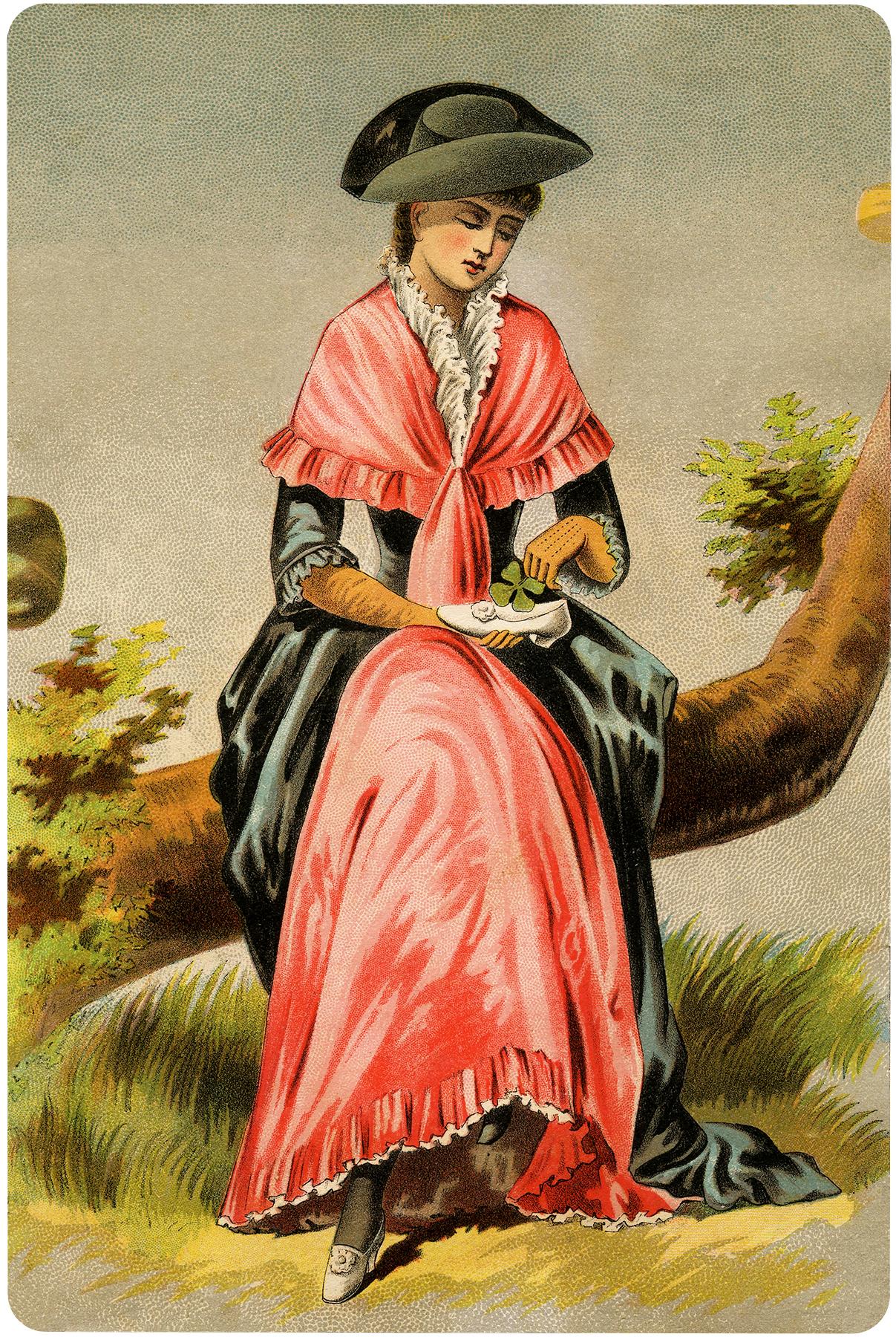 Vintage Shamrock Shoe Lady Image