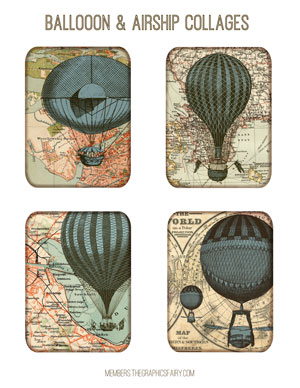 steampunk_balloon_collage_blue_graphicsfairy