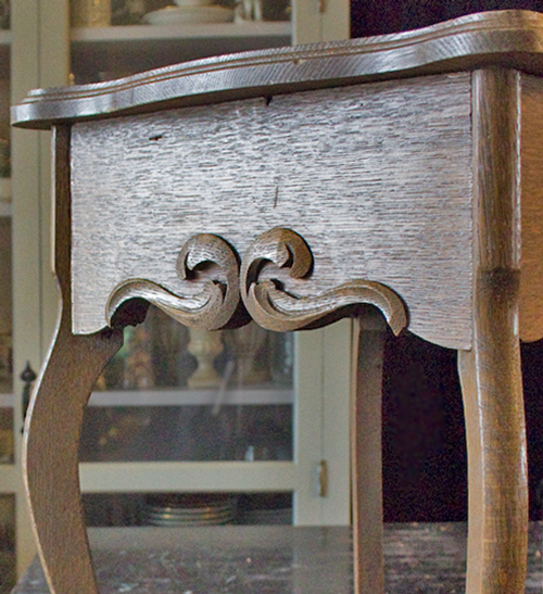 01 Create-an-Aged-Copper-Finish-Oak-Table-Before-Detail