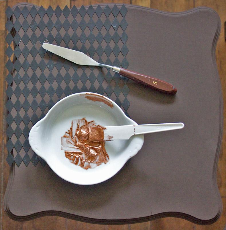 06 Create-an-Aged-Copper-Finish-Oak-Table-Stencil-Prep