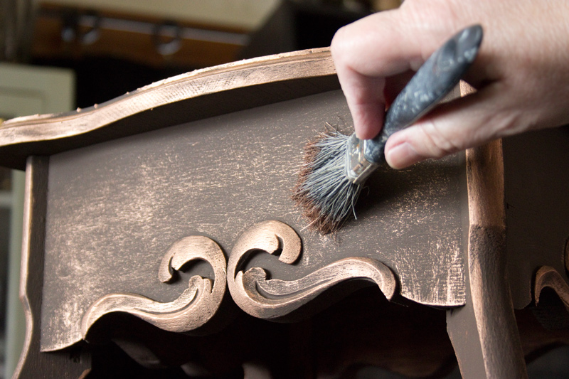 09 Create-an-Aged-Copper-Finish-Oak-Table-Add-Copper-Highlights