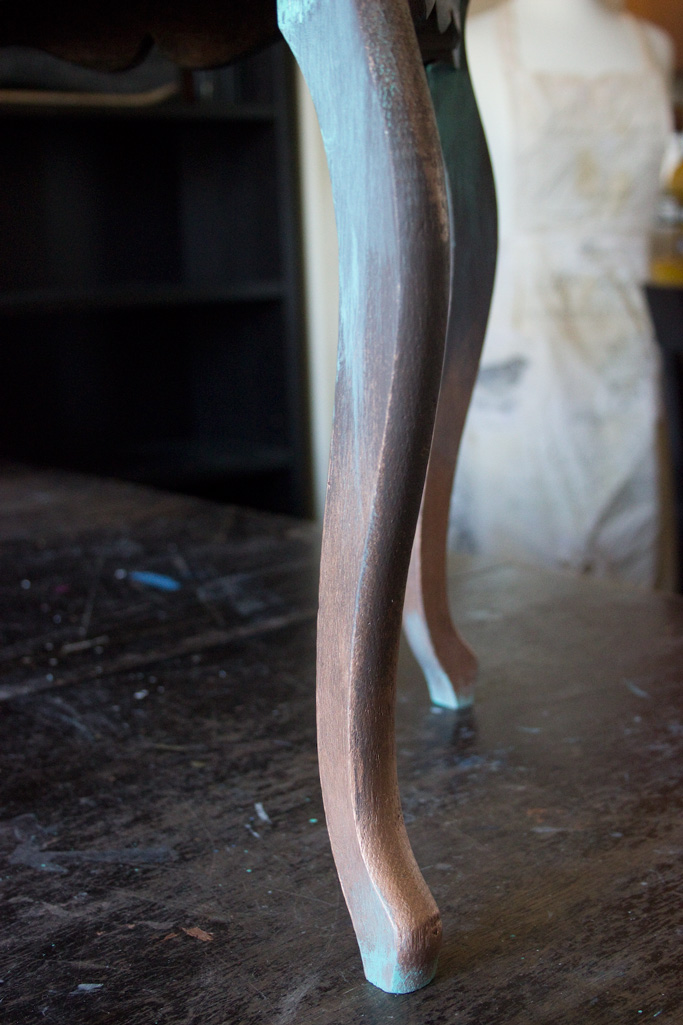 17 Create-an-Aged-Copper-Finish-Oak-Table-Copper-and-Patina-Detail