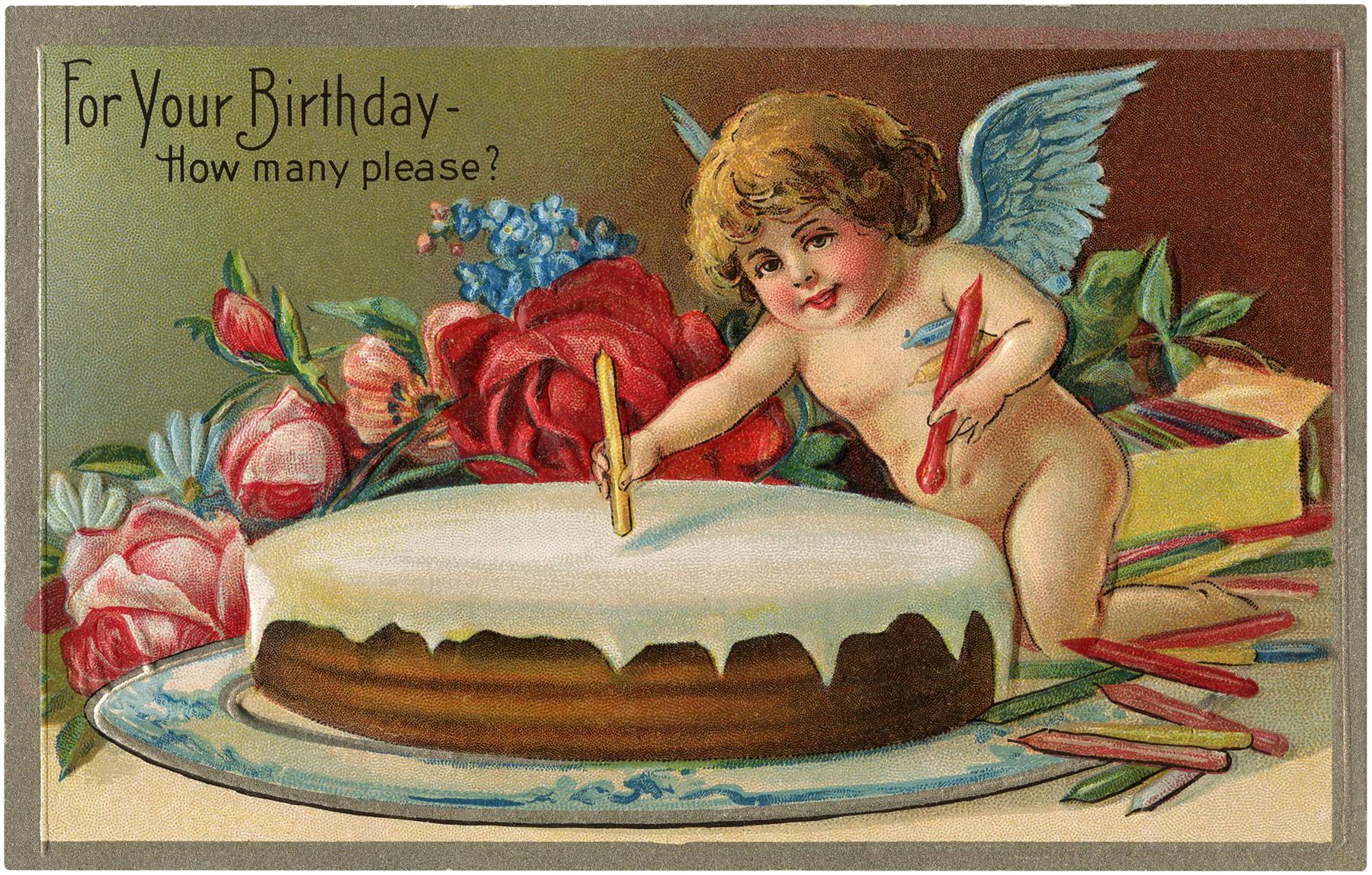 Vintage Birthday Cherub Image