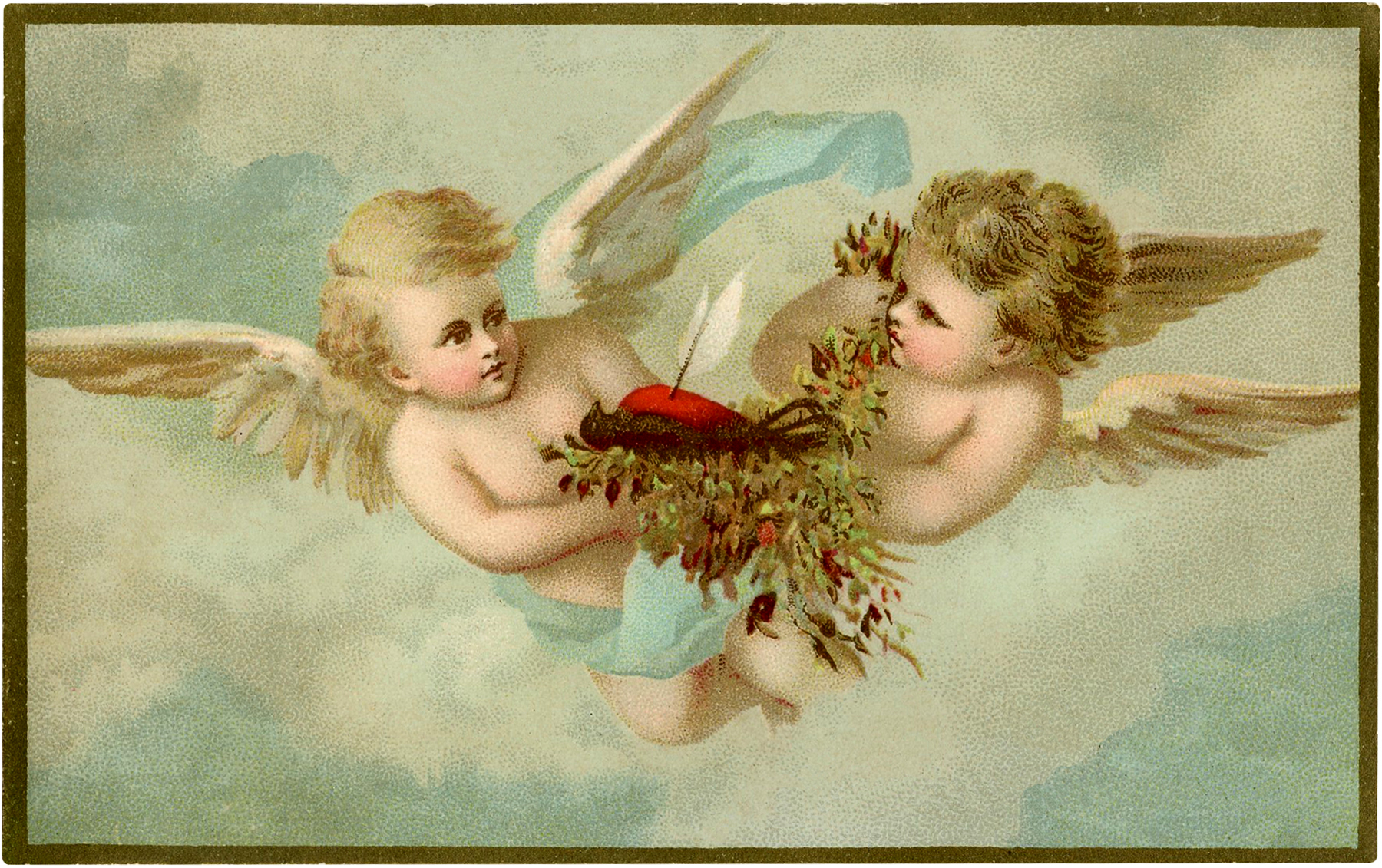 Vintage Cherubs with Robin Image
