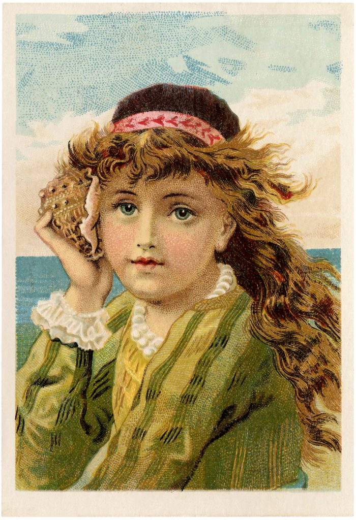 Vintage Girl with Seashells Illustrations
