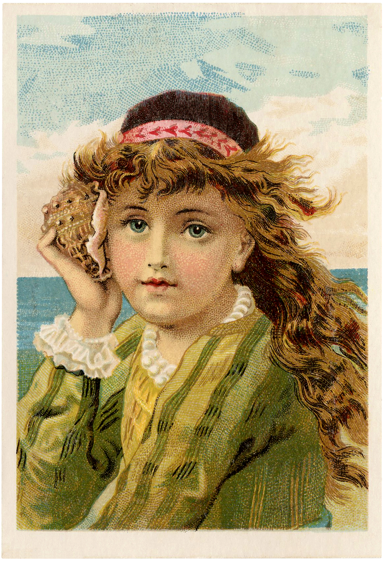 1000 Images About Retro Vintage On Pinterest: Stunning Vintage Seashell Girl Image!