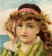 Stunning Vintage Seashell Girl Image!