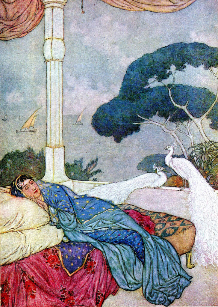 White Peacock Scene with Indian Lady on bed