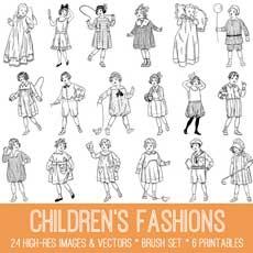 Vintage Children's Fashions Image Kit! TGF Premium
