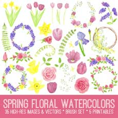 Spring Floral Watercolors Image Kit!