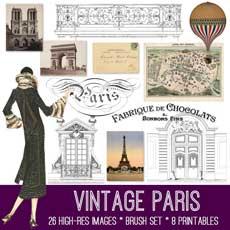 Beautiful Vintage Paris Image Kit!