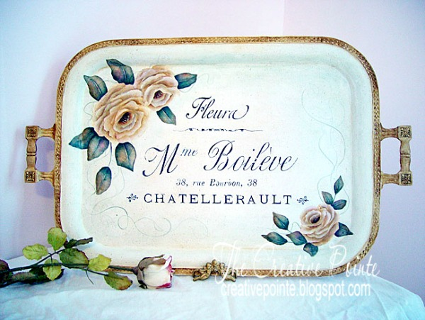 Hand Painted Rose Tray